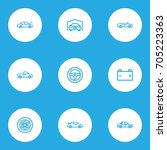 car outline icons set.... | Shutterstock .eps vector #705223363