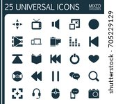 music icons set. collection of... | Shutterstock .eps vector #705229129