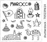 hand drawn morocco travel... | Shutterstock .eps vector #705239614