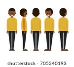front  side  back view animated ... | Shutterstock .eps vector #705240193
