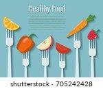 vegetables and fruits on forks. ... | Shutterstock .eps vector #705242428