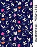 seamless letters   pop pattern... | Shutterstock .eps vector #705242518