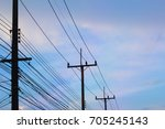 Power Poles And Wires With Blue ...