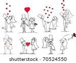 set of wedding pictures  bride... | Shutterstock .eps vector #70524550