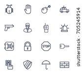 set of 16 security outline... | Shutterstock .eps vector #705245914