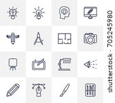 set of 16 creative outline... | Shutterstock .eps vector #705245980