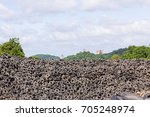 heap of old tires  in recycling ...   Shutterstock . vector #705248974