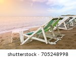 beach chair on the beach in...   Shutterstock . vector #705248998