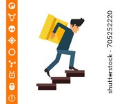delivery man carrying box... | Shutterstock .eps vector #705252220