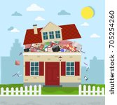 the concept of excessive ... | Shutterstock .eps vector #705254260
