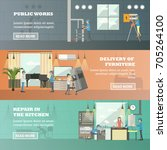 set of working horizontal... | Shutterstock . vector #705264100