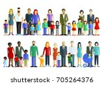 group of families with children ... | Shutterstock . vector #705264376