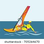 summer water beach sports ... | Shutterstock .eps vector #705264670