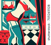 woman trying on lingerie. women'... | Shutterstock .eps vector #705265528