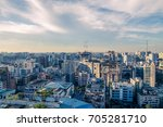 skyline aerial view at sunset... | Shutterstock . vector #705281710