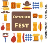 octoberfest icons and patterns... | Shutterstock .eps vector #705287536