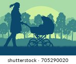 mother with baby cart  in park...   Shutterstock .eps vector #705290020