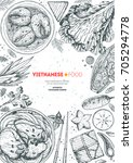 vietnamese food vertical frame. ... | Shutterstock .eps vector #705294778