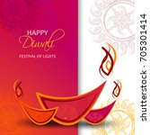 happy diwali card. vector... | Shutterstock .eps vector #705301414