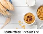 tasty corn flakes  cereal with... | Shutterstock . vector #705305170