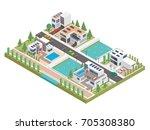 modern luxury isometric green... | Shutterstock .eps vector #705308380