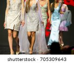 female models walk the runway... | Shutterstock . vector #705309643
