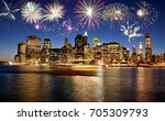 fireworks over new york city... | Shutterstock . vector #705309793