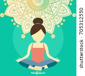 young woman meditating in lotus ... | Shutterstock .eps vector #705312550