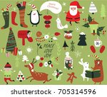 christmas cards with cute santa ... | Shutterstock .eps vector #705314596
