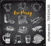 vector hand drawn vintage coffe ... | Shutterstock .eps vector #705324130