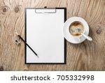 clipboard with blank letterhead ... | Shutterstock . vector #705332998