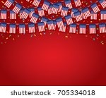 garland usa flags with red... | Shutterstock .eps vector #705334018
