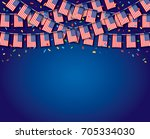 garland usa flags with blue... | Shutterstock .eps vector #705334030