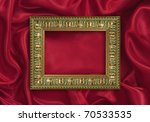 Picture frame on the color satin background - stock photo