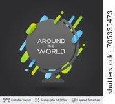 black badge globe sticker.... | Shutterstock .eps vector #705335473