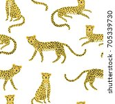 seamless pattern with cute... | Shutterstock .eps vector #705339730