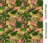 seamless pattern with cute... | Shutterstock .eps vector #705339769