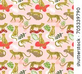 seamless pattern with cute... | Shutterstock .eps vector #705339790