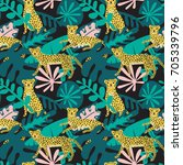 seamless pattern with cute... | Shutterstock .eps vector #705339796