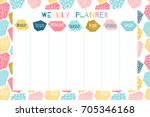 cute and colorful weekly... | Shutterstock .eps vector #705346168