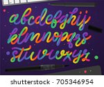 rainbow alphabet. colorful... | Shutterstock .eps vector #705346954