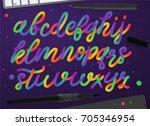 rainbow alphabet. colorful... | Shutterstock .eps vector #705346954