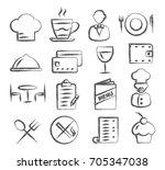 restaurant doodle icons | Shutterstock .eps vector #705347038