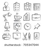 office doodle icons | Shutterstock .eps vector #705347044
