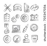 auto service doodle icons | Shutterstock .eps vector #705347056