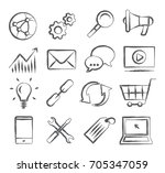 seo doodle icons | Shutterstock .eps vector #705347059