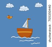 yacht in the sea  a bird in the ... | Shutterstock .eps vector #705350440