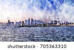 Stock photo watercolor painting of doha qatar 705363310
