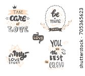 set of cute hand drawn positive ... | Shutterstock .eps vector #705365623