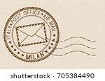 postal stamp  round brown... | Shutterstock .eps vector #705384490